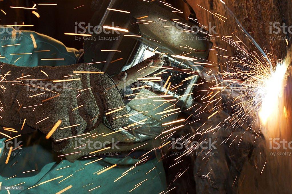 weld spark work stock photo