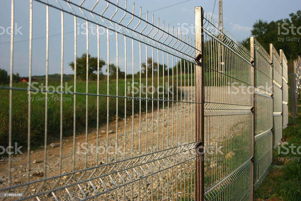 Welded wire fence. stock photo