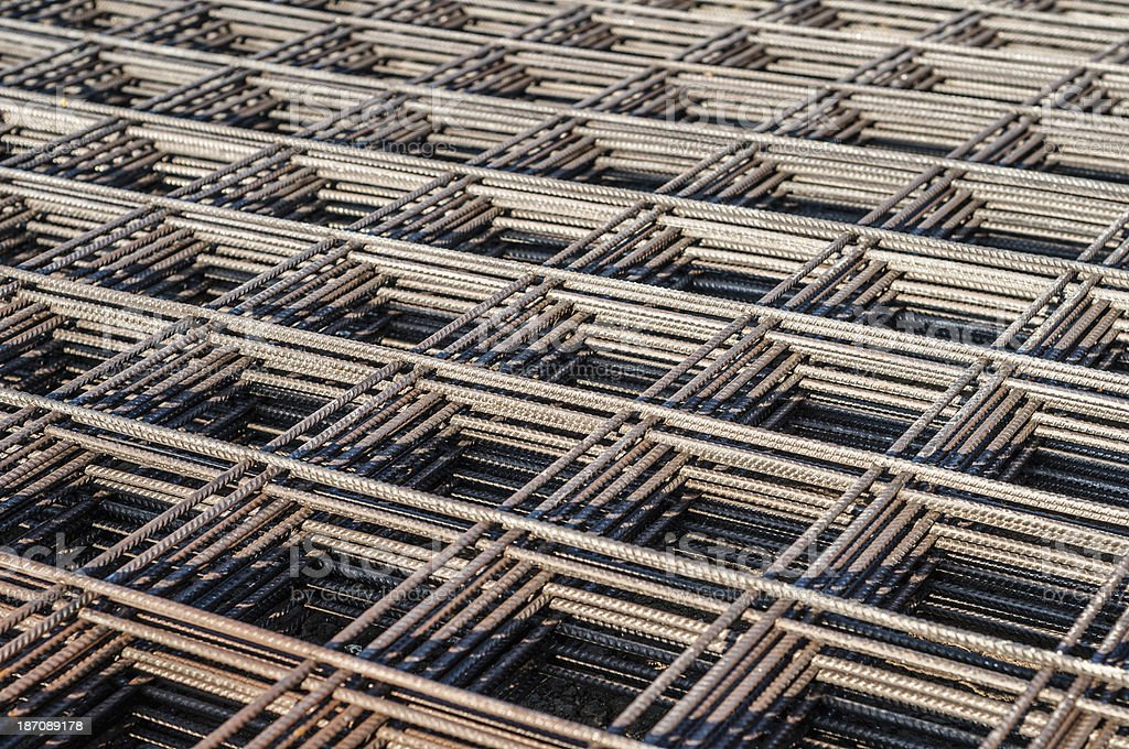 Welded wire mesh on a construction site. as wallpaper stock photo
