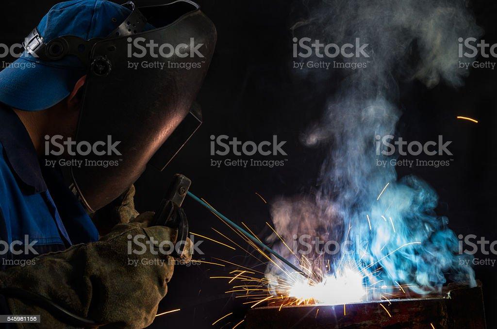 Welder at work stock photo