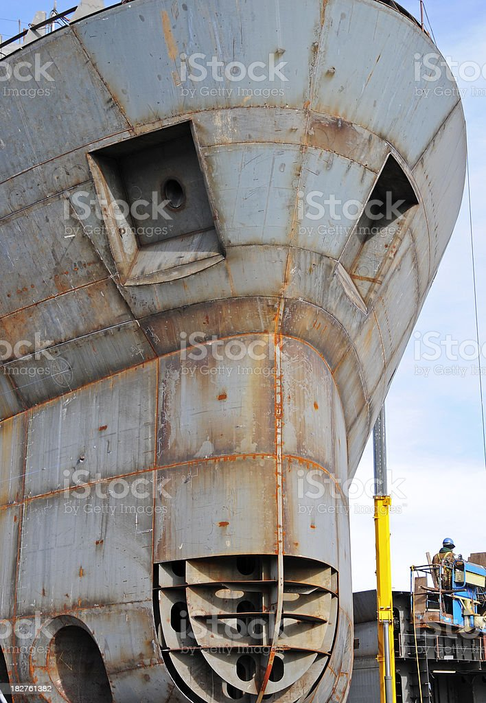 Welder being lifted to research vessel royalty-free stock photo