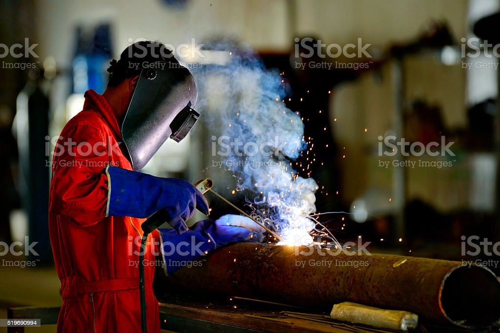Welder engineer workshop stock photo