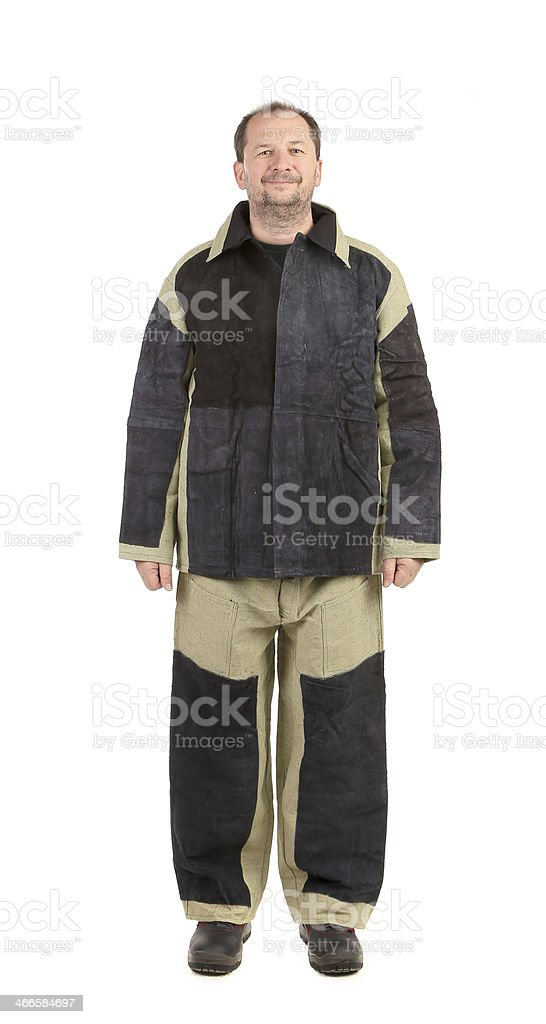 Welder in workwear suit. stock photo