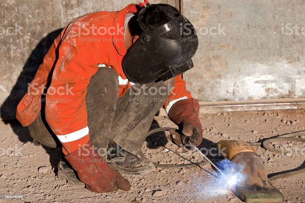 welder is very busy royalty-free stock photo