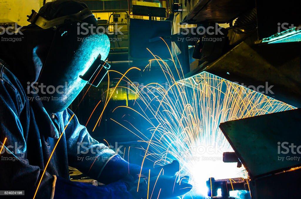 welder MIG. stock photo