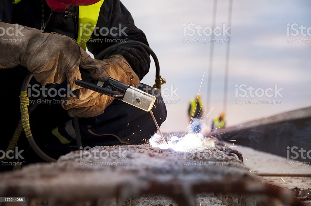 Welder on a construction site royalty-free stock photo