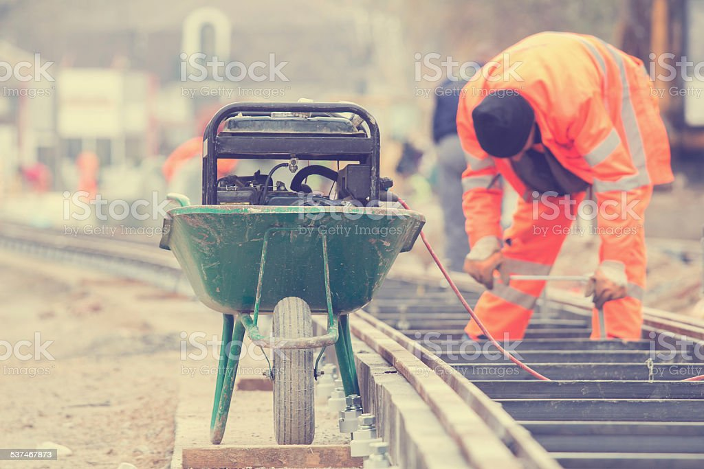 Welder on a construction site. stock photo