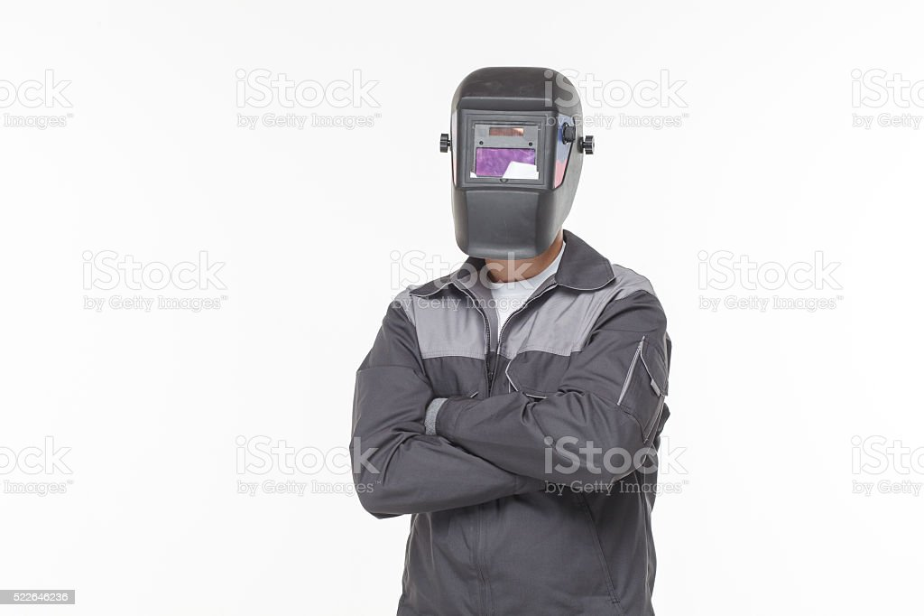Welder on a white background stock photo