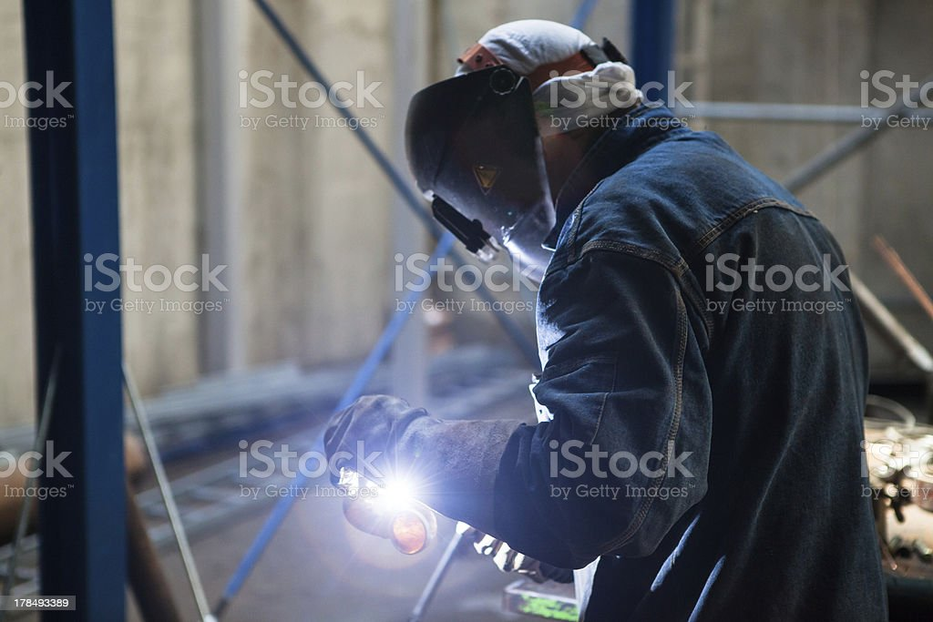 Argon-arc welding man