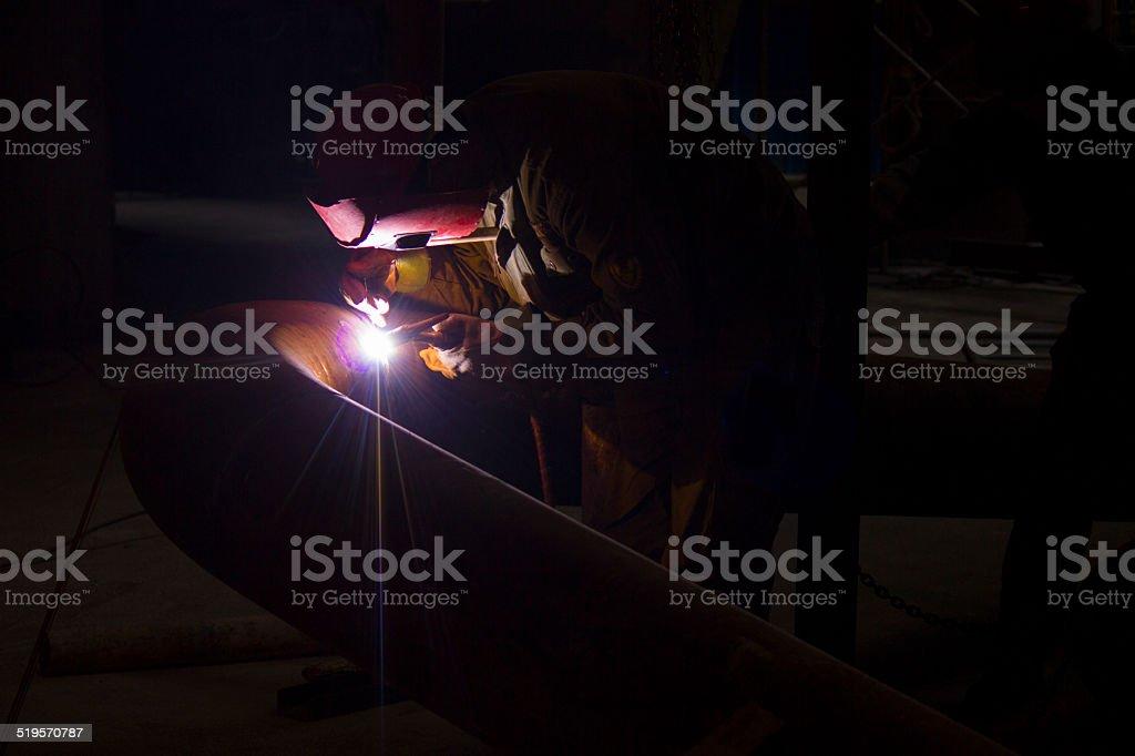 welding workers in pipe welding