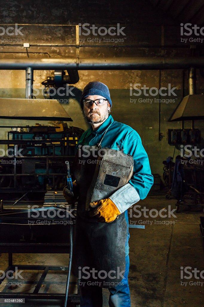 Welder portrait stock photo