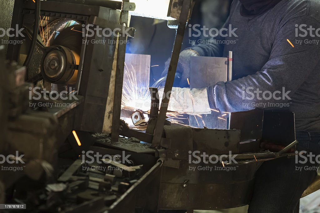 welder working in the factory royalty-free stock photo