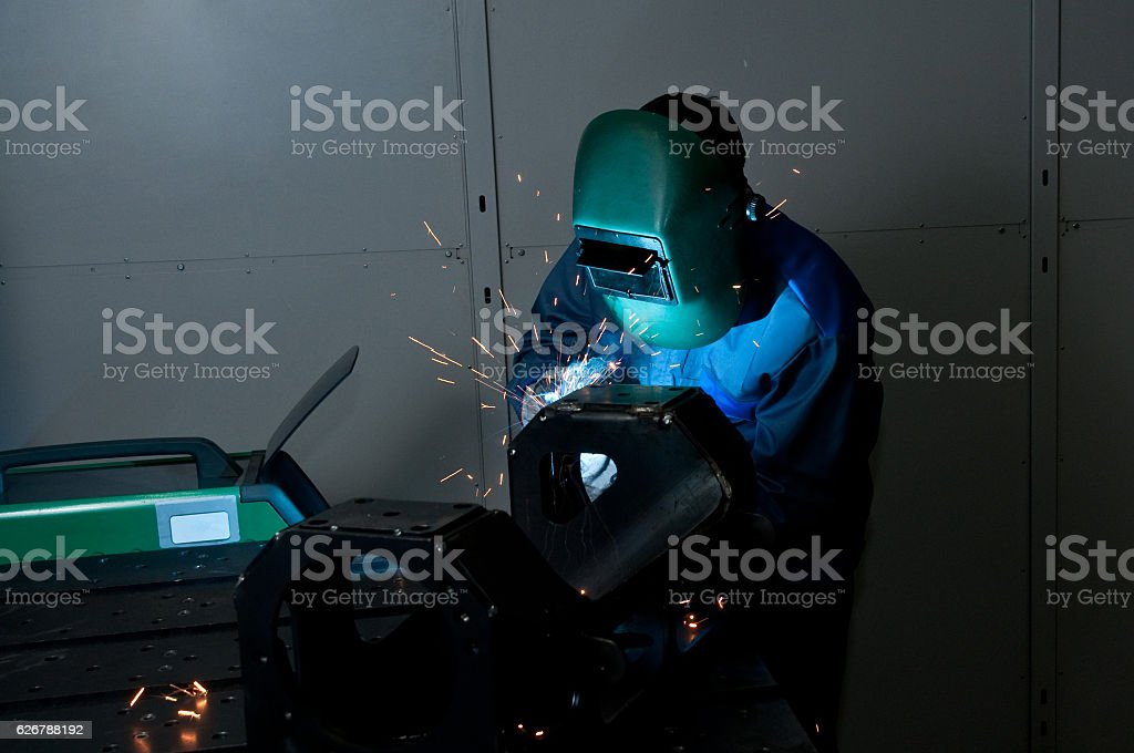 Welder working stock photo