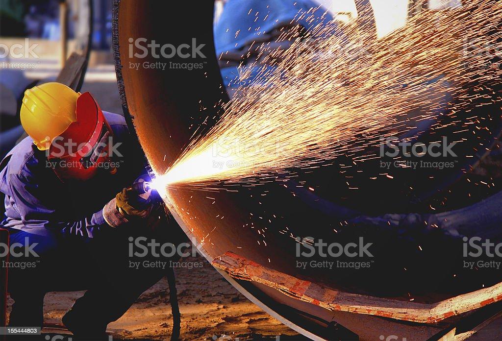 Welder works sparkle royalty-free stock photo