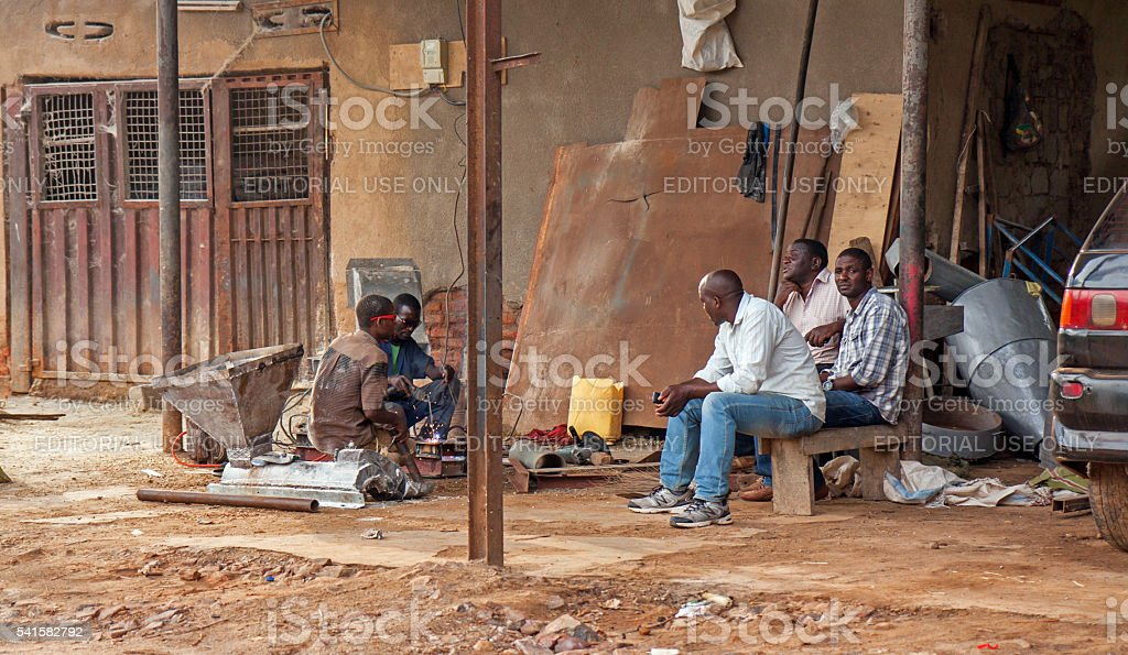 Welders working in open air in Rwanda stock photo