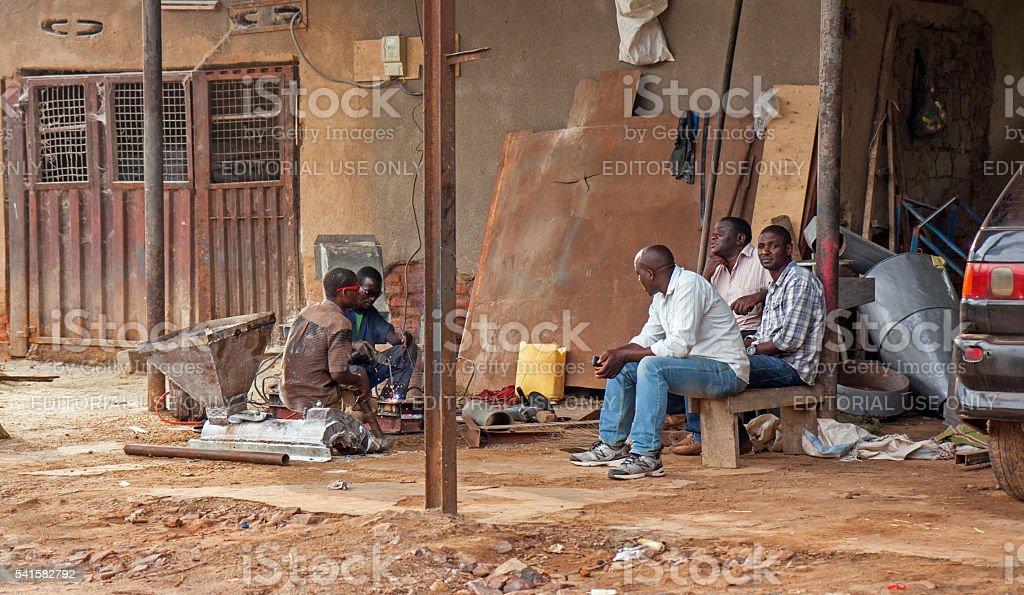 Welders working in open air in Rwanda stock photo