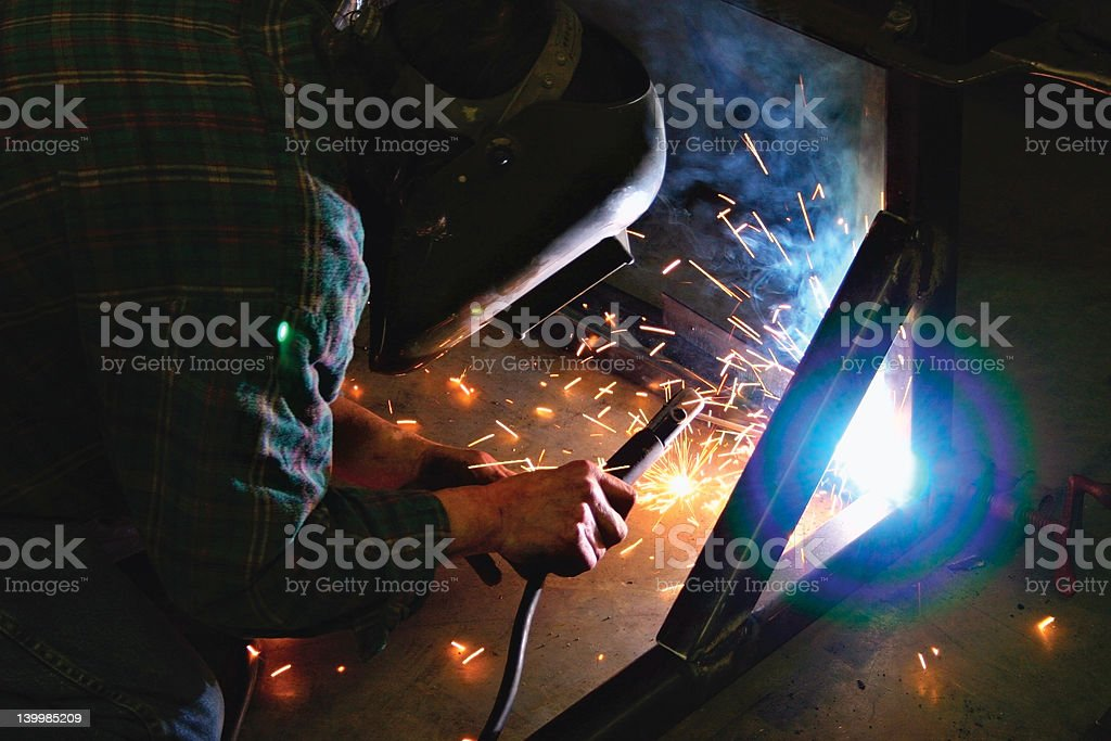 Welding a Frame stock photo
