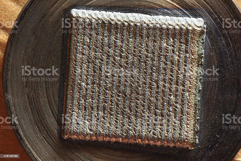 Welding bead in metal roller stock photo
