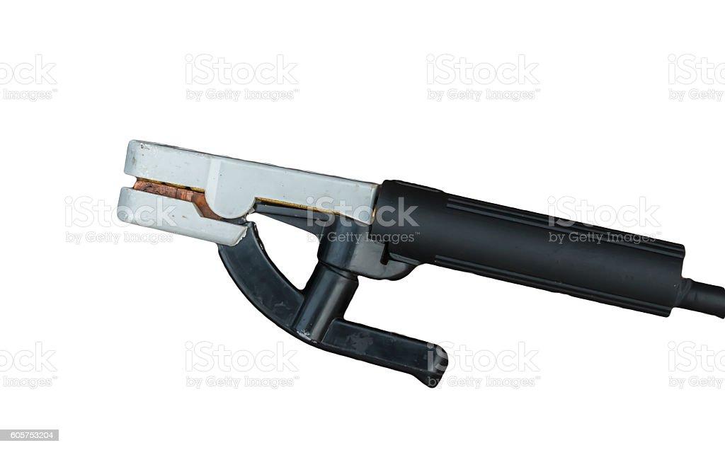 Welding electrode holder stock photo