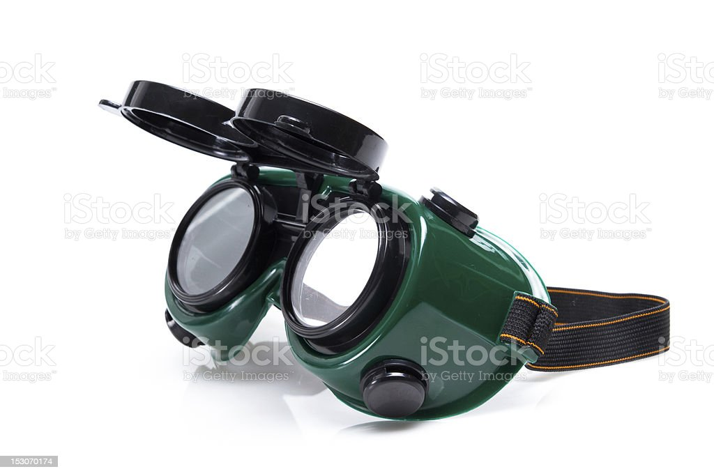 welding glasses close-up on white background stock photo
