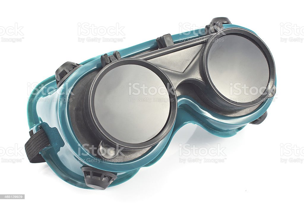 Welding glasses isolated on white stock photo