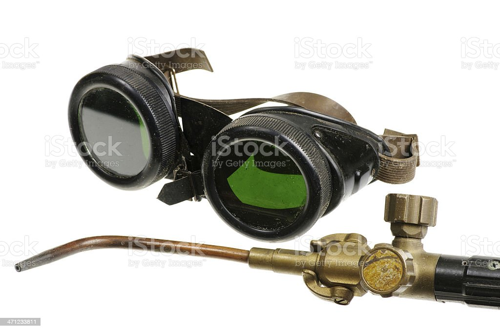 Welding Goggles And Torch Isolated On White stock photo