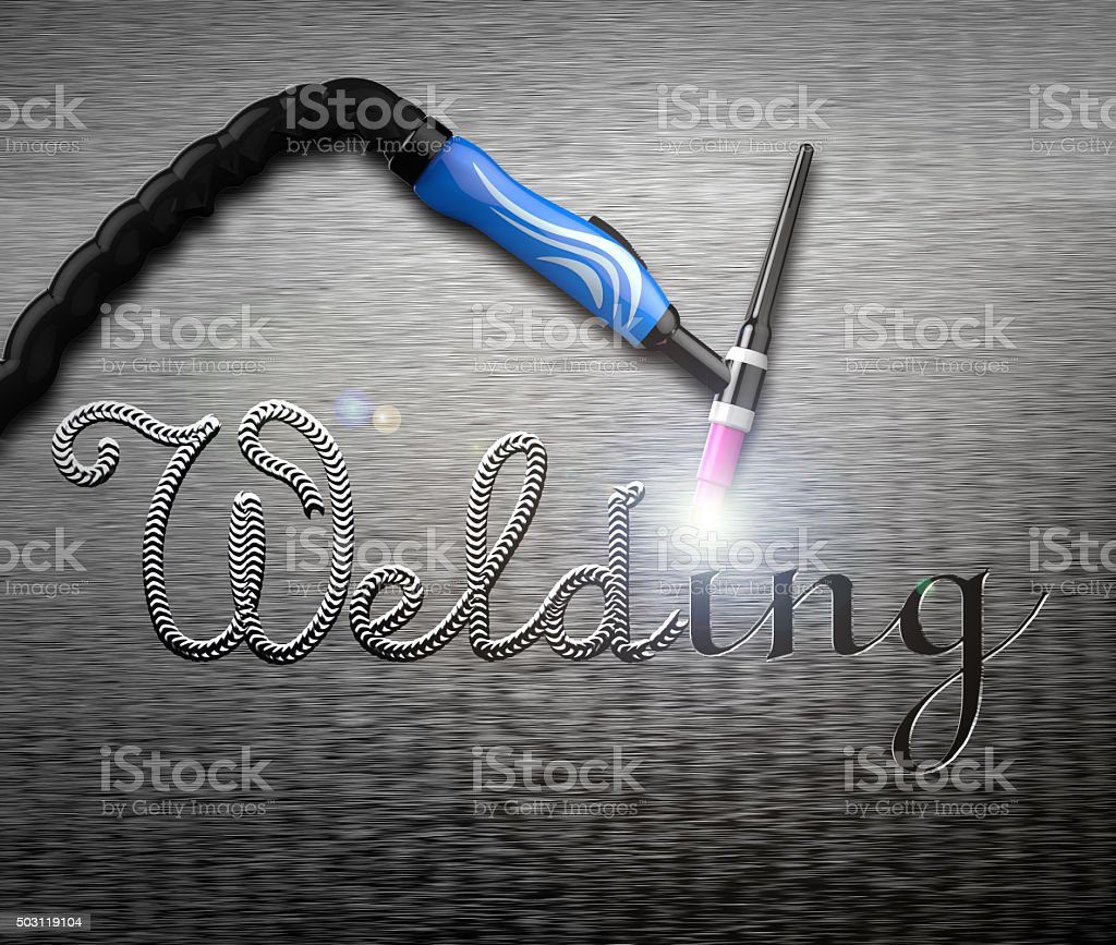 Welding handle on a metal plate. Rendering image stock photo