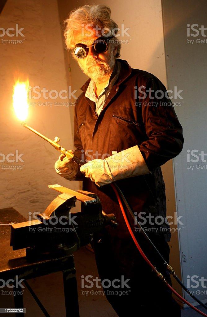 welding in the workshop stock photo