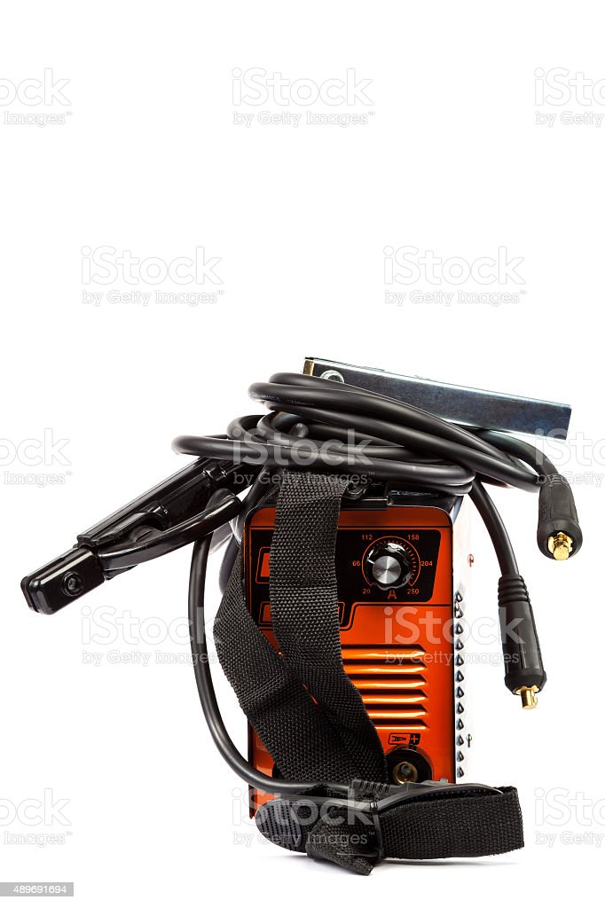 Welding machine with wires on white background. stock photo