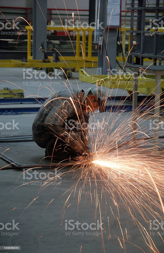 Welding operator on the floor royalty-free stock photo