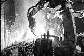 Welding robots movement, Black & White