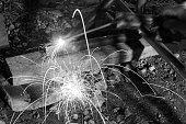 Welding spark for building fence in the night