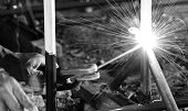 Welding spark for building fence / Selective focus