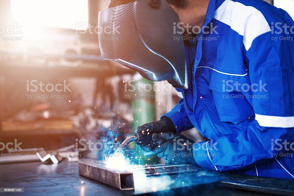 Welding steel bars stock photo