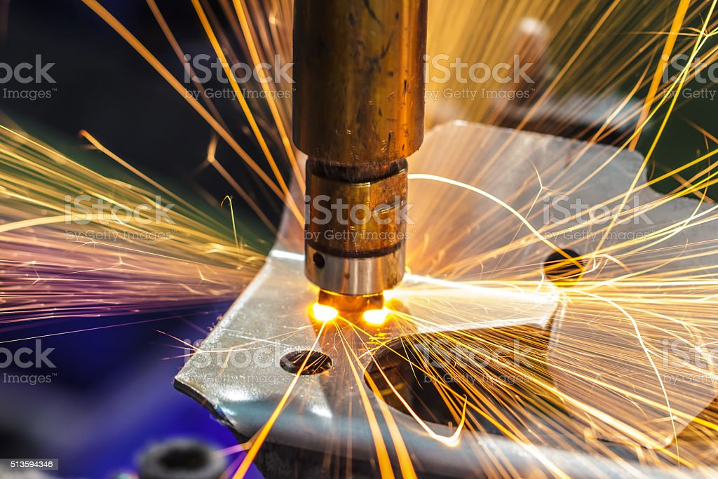 Welding steel spot stock photo