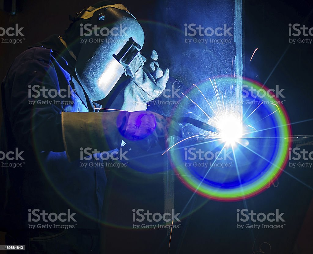 Welding steel structure stock photo