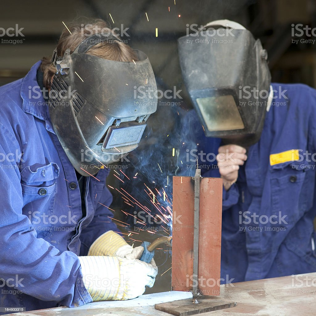 Welding trainee royalty-free stock photo