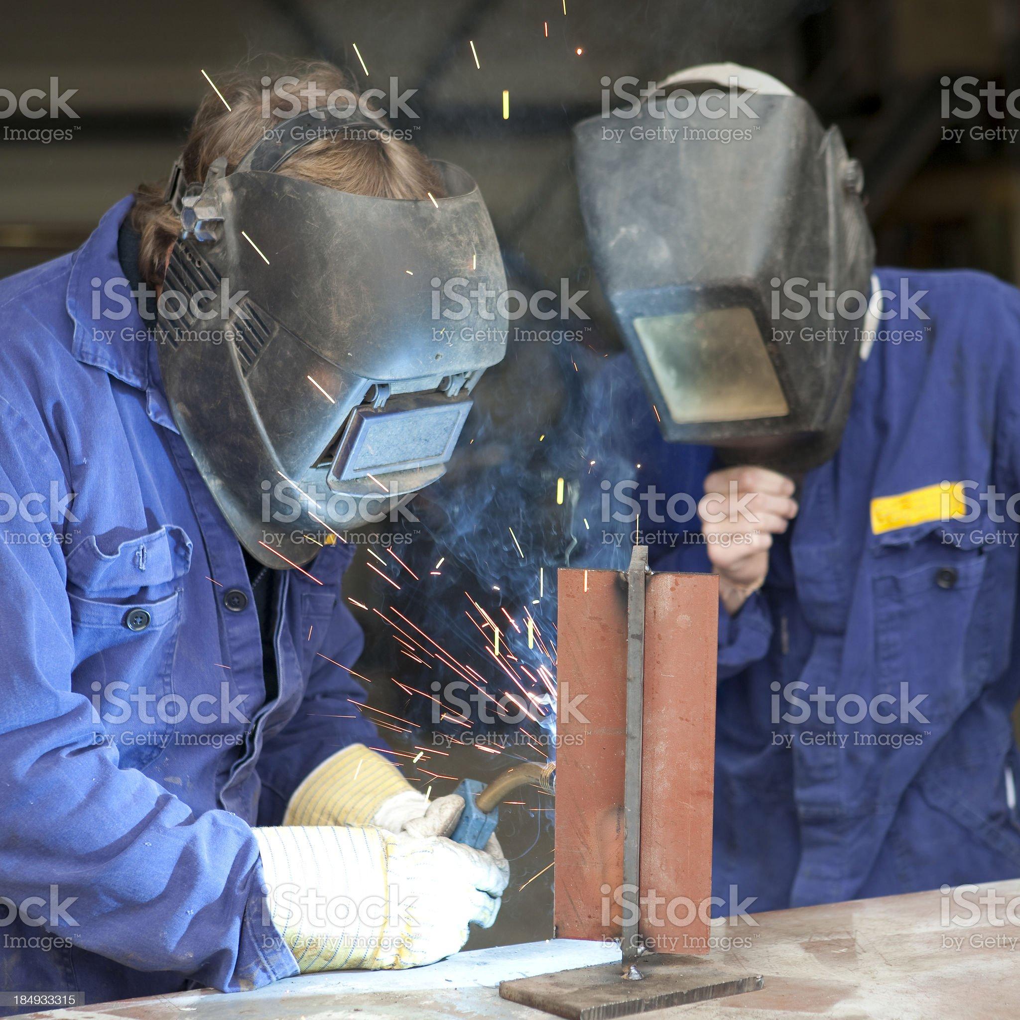 Welding trainee royalty-free stock photo