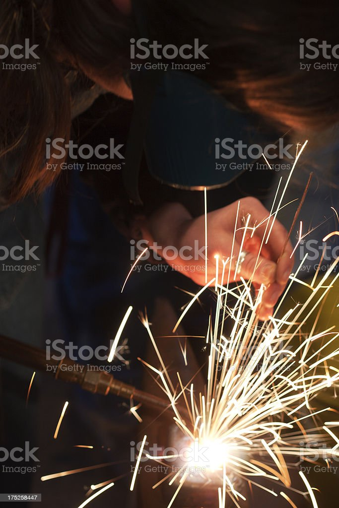 Welding with an Oxyacetylene Torch royalty-free stock photo