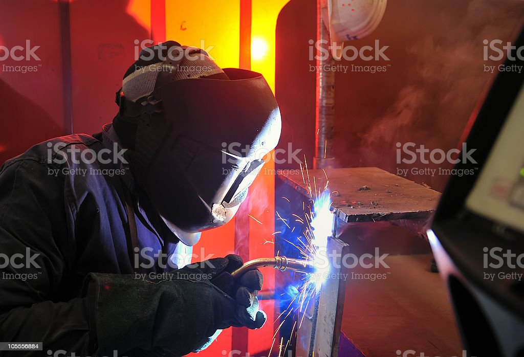 welding with mig-mag method. stock photo