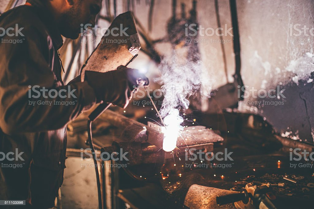 Welding work. stock photo