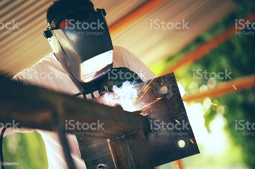 Welding worker. stock photo