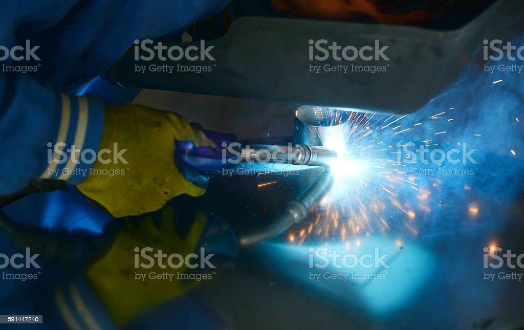 Welding,mig welding,Argon welding stock photo