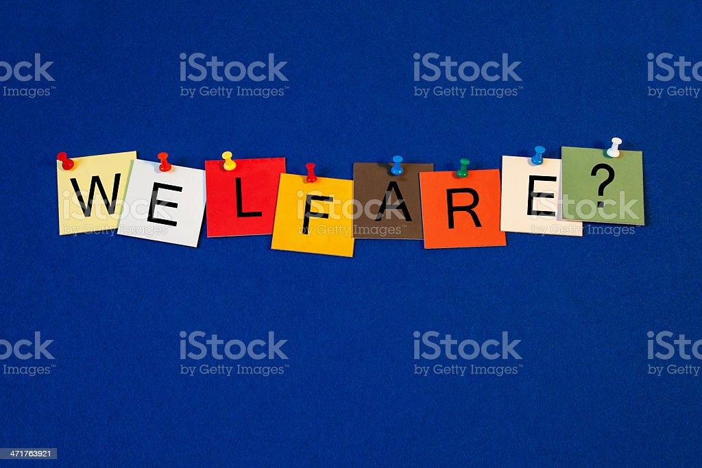 Welfare - sign for social care. stock photo