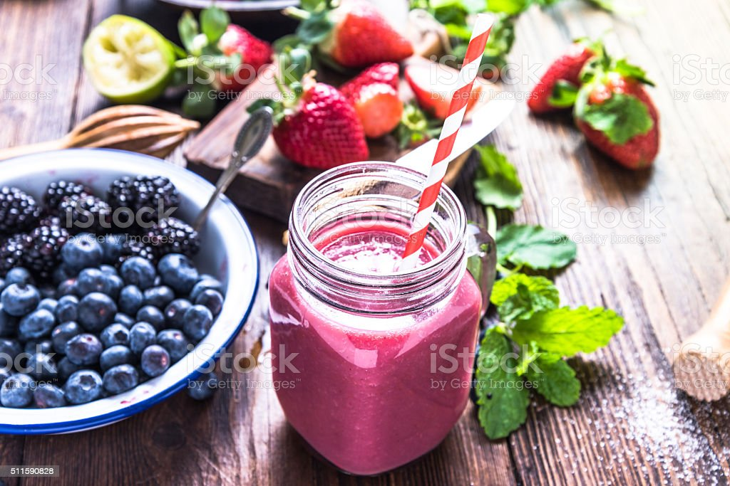 Well being and weight loss concept, berry smoothie. stock photo