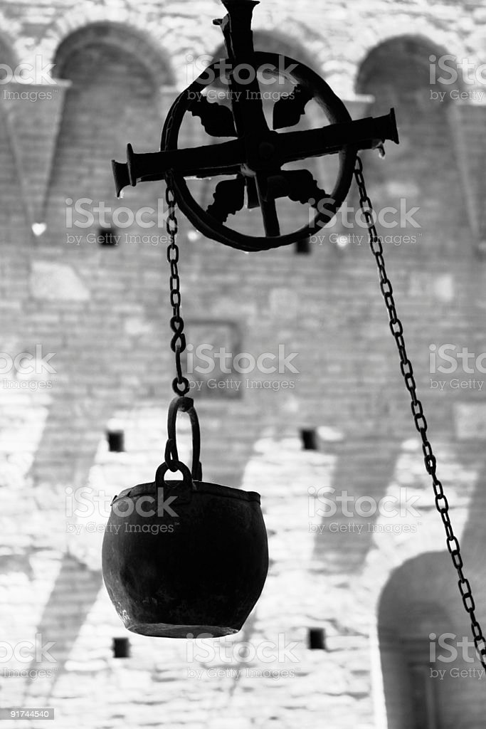 Well Bucket and Pulley - Black & White royalty-free stock photo