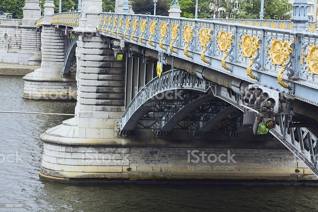 Well decorated bridge Pont de Fragnée stock photo