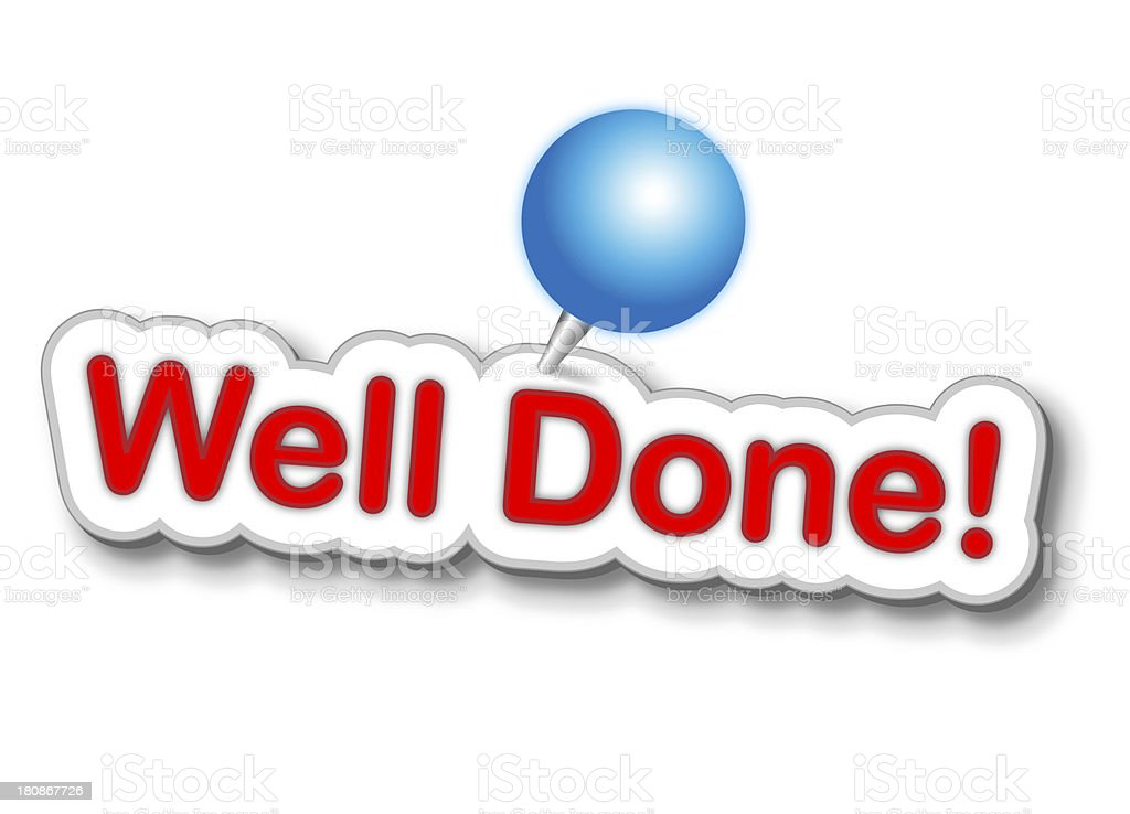Well Done Sticker With Push Pin royalty-free stock photo