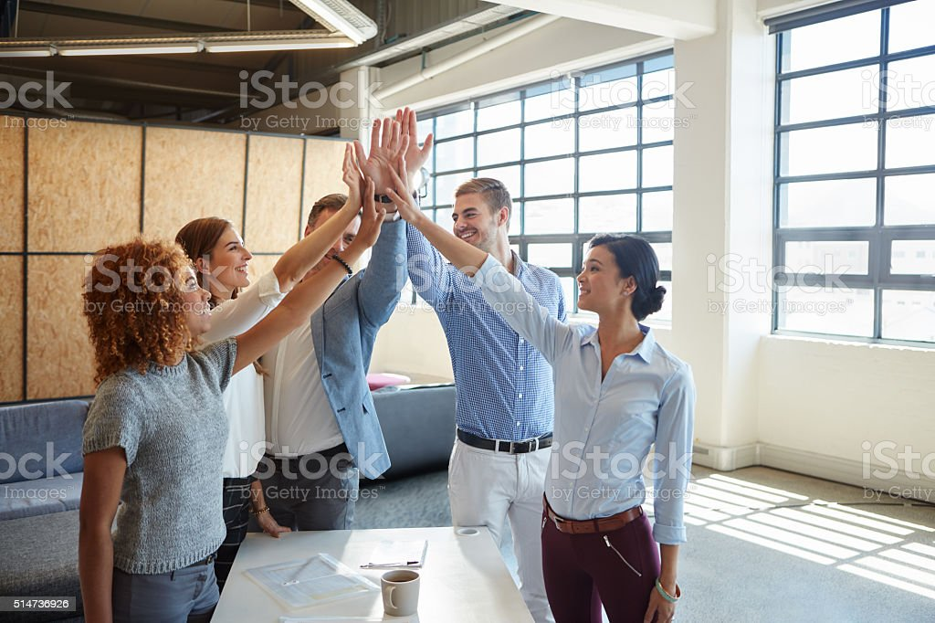 Well done, team! stock photo