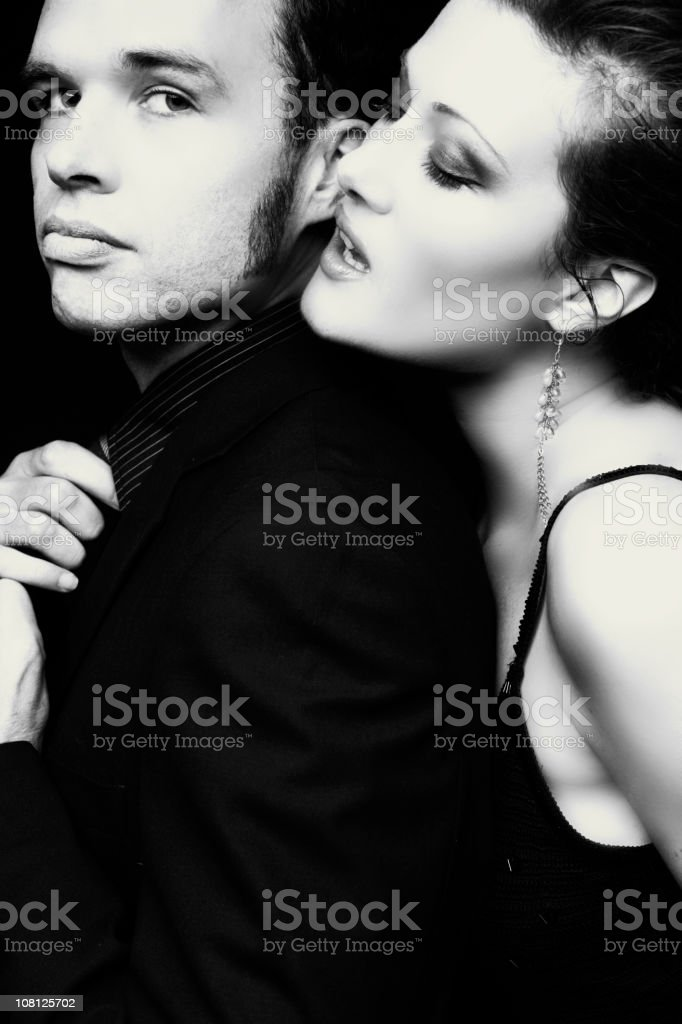 Well Dressed Couple Posing, Black and White stock photo